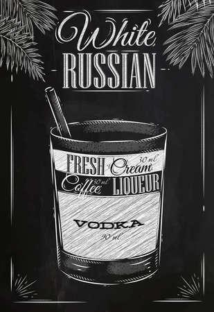 在復古風格的白俄雞尾酒程式化用粉筆在黑板上畫