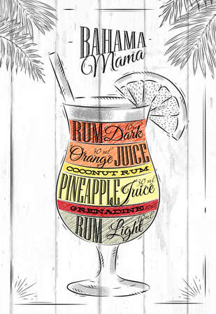 Banama mama cocktail in vintage style stylized painted on wooden boards