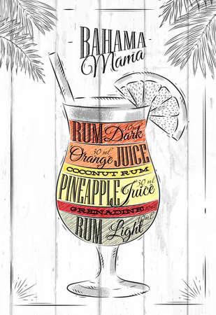 Banama mama koktejl ve stylu vintage stylizované malované na dřevěných deskách Ilustrace