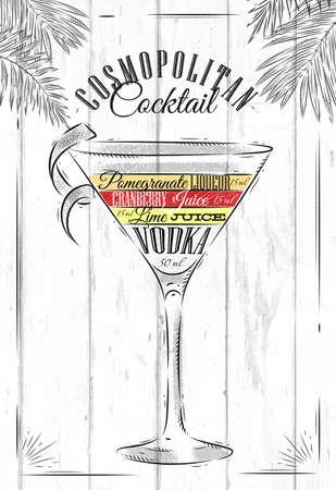 Cocktail Cosmopolitan dans le style vintage stylisée peint sur des planches de bois