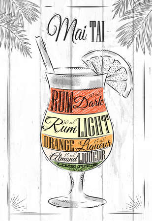 Mai tai  cocktail in vintage style stylized painted on wooden boards