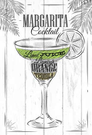 Margarita cocktail in vintage stijl gestileerde geschilderd op houten planken Stock Illustratie