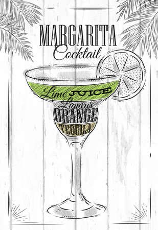 margarita glass: Margarita cocktail in vintage style stylized painted on wooden boards