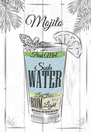 rum: Mojito cocktail in vintage style stylized painted on wooden boards