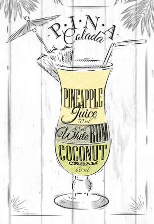 Pina Colada cocktail in vintage style stylized painted on wooden boards