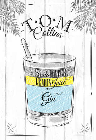 collins: Tom Collins cocktail in vintage style stylized painted on wooden boards