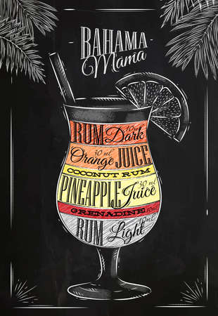sketching: Banama mama cocktail in vintage style stylized drawing with chalk on blackboard Illustration