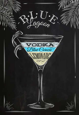 cocktail: Blue lagoon cocktail in vintage style stylized drawing with chalk on blackboard