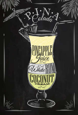 Pina Colada cocktail in vintage style stylized drawing with chalk on blackboard Vectores