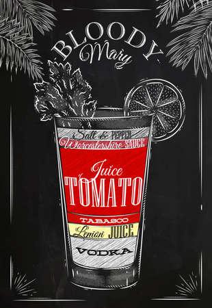在復古風格的血腥瑪麗雞尾酒程式化用粉筆在黑板上畫 向量圖像