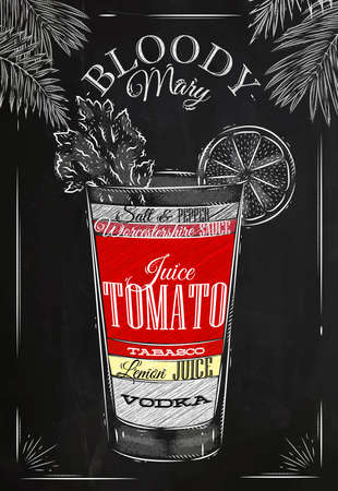 Cóctel Bloody mary en estilo vintage estilizado dibujo con tiza en la pizarra