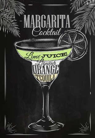 Margarita cóctel en estilo vintage estilizado dibujo con tiza en la pizarra Vectores