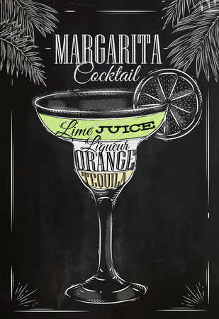 margarita glass: Margarita cocktail in vintage style stylized drawing with chalk on blackboard