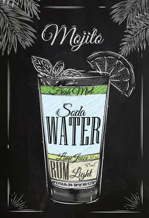 Mojito cóctel en estilo vintage estilizado dibujo con tiza en la pizarra