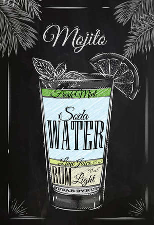 rum: Mojito cocktail in vintage style stylized drawing with chalk on blackboard