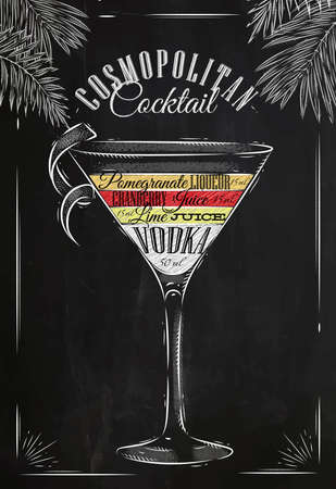 Cóctel Cosmopolitan en estilo vintage estilizado dibujo con tiza en la pizarra Vectores