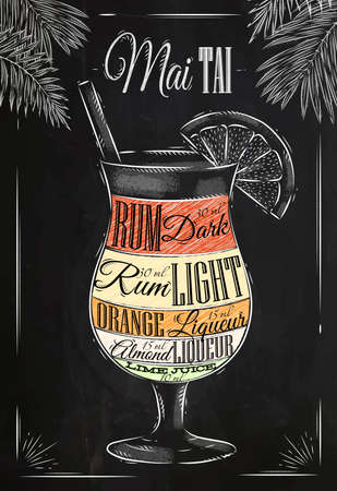 Mai tai  cocktail in vintage style stylized drawing with chalk on blackboard