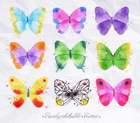 Set of watercolor butterflies of different colors and shapes drawn by hand on a background of a crumpled paper