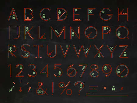 entire: Font of flat lines the entire alphabet with red letters