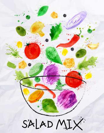 salad in plate: Cartel mezcla de ensalada verter en un cuenco dibujado en una acuarela abstracta sobre papel arrugado Vectores