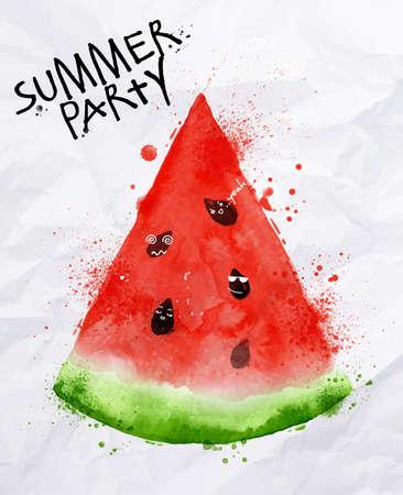 Poster do partido do verão como um fatias de melancia e sementes vai partido no fundo com papel amarrotado
