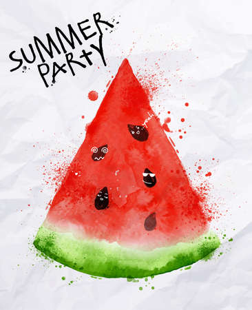 Poster summer party as a slices of watermelon and seeds goes party on background with crumpled paper Ilustração