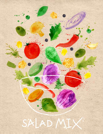 alimentos sanos: Cartel mezcla de ensalada verter en un cuenco dibujado en una acuarela abstracta para embarcaciones