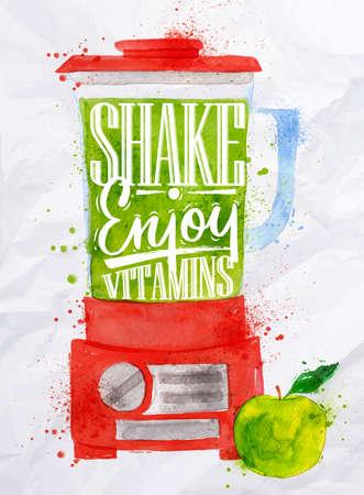 licuadora: Cartel con la licuadora rojo con batido de letras disfruto vitaminas acuarela pintada en el papel arrugado