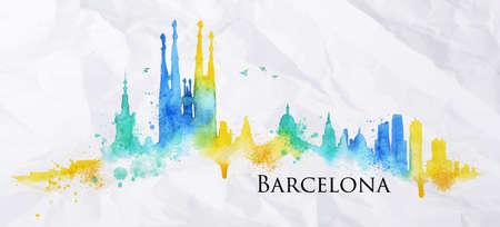 Het silhouet van de stad Barcelona beschilderd met spatten van aquarel druppels strepen oriëntatiepunten in blauw met gele tinten