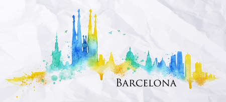 barcelona spain: Silhouette Barcelona city painted with splashes of watercolor drops streaks landmarks in blue with yellow tones