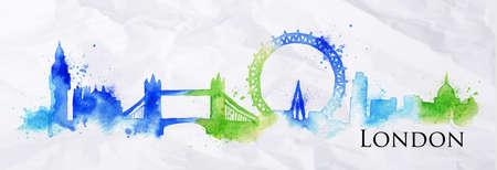 Silueta de Londres ciudad pintada con salpicaduras de gotas de acuarela rayas puntos de referencia con un azul-verde colores Vectores