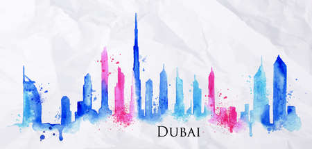 wealth: Silhouette of Dubai city painted with splashes of watercolor drops streaks landmarks in blue with pink