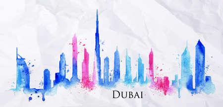 Silhueta da cidade Dubai pintado com salpicos de gotas da aguarela raias marcos em azul com rosa