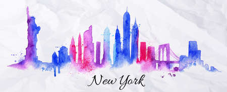 and scape: Silhouette New york city painted with splashes of watercolor drops streaks landmarks with blue violet tones