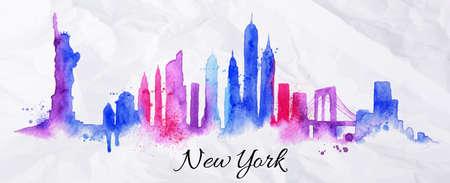 urban colors: Silueta de la ciudad de Nueva york pintada con salpicaduras de gotas de acuarela rayas puntos de referencia con tonos violetas azules Vectores