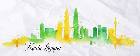 Silhouette of Kuala Lumpur city painted with splashes of watercolor drops streaks landmarks with a yellow-green colors