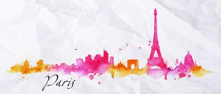 Het silhouet van Parijs stad beschilderd met spatten van aquarel druppels strepen oriëntatiepunten in roze met oranje tinten