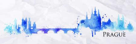 Het silhouet van Praag beschilderd met spatten van aquarel druppels strepen oriëntatiepunten in blauw met violet tinten Stockfoto - 37607097