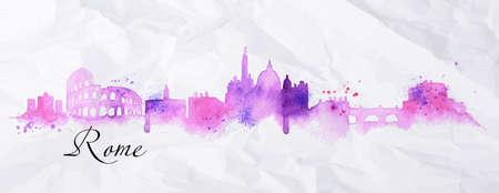 Città Silhouette Roma dipinto ad acquerello con goccioline spruzzo con striature luoghi di interesse a colori rosa e viola