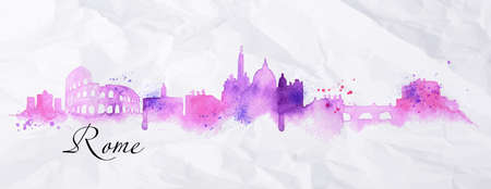 Silhouette Rome city painted in watercolor with spray droplets with streaks landmarks in pink and purple colors