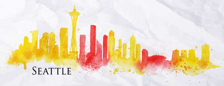 Silhouette Seattle neighborhood painted with splashes of watercolor drops streaks landmarks with a yellow-red colors Stock Illustratie