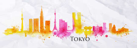 Silhouette of Tokyo city painted with splashes of watercolor drops streaks landmarks in yellow with pink tones
