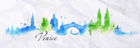 Silhouette Venice city painted with splashes of watercolor drops streaks landmarks with a blue-green colors