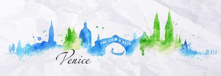 Het silhouet van de stad van Venetië beschilderd met spatten van aquarel druppels strepen monumenten met een blauw-groene kleuren