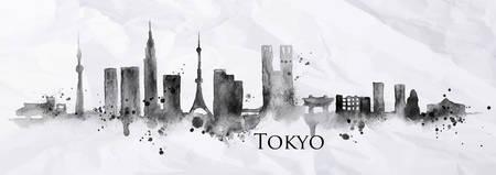 Silhouette der Stadt Tokio mit Spritzern von Tinte gemalt Streifen Sehenswürdigkeiten Zeichnung in schwarzer Tinte auf einem zerknitterten Papier fällt