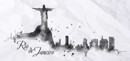 harry: Silhouette Rio de Janeiro city ink painted with spray droplets with streaks landmarks drawing in black ink on crumpled paper