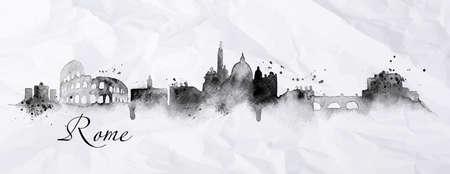 Città Silhouette Roma dipinta con l'inchiostro con le goccioline di spray con striature monumenti disegno in inchiostro nero su carta stropicciata Archivio Fotografico - 37684196