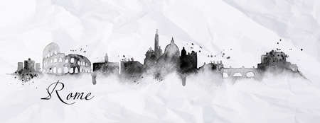 stylized: Silhouette Rome city painted in ink with spray droplets with streaks landmarks drawing in black ink on crumpled paper