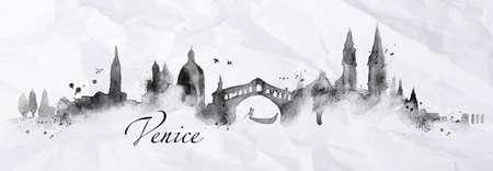 Silhouette Venedig mit Spritzern von Tinte gemalt fällt Schlieren Sehenswürdigkeiten Zeichnung in schwarzer Tinte auf einem zerknitterten Papier