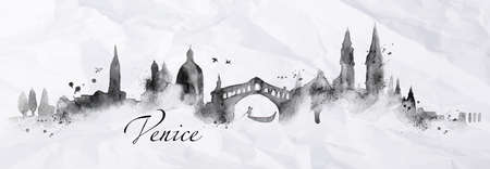 venice italy: Silhouette Venice city painted with splashes of ink drops streaks landmarks drawing in black ink on crumpled paper Illustration